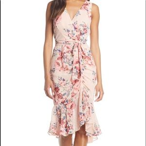 NWT Eliza J Floral Ruched Chiffon Faux Wrap Dress